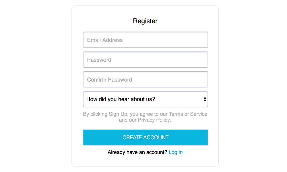 CloudForecast's sign up form